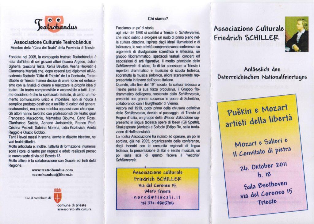Spettacoli a Trieste 2011 - Puškin e Mozart Associazione Schiller