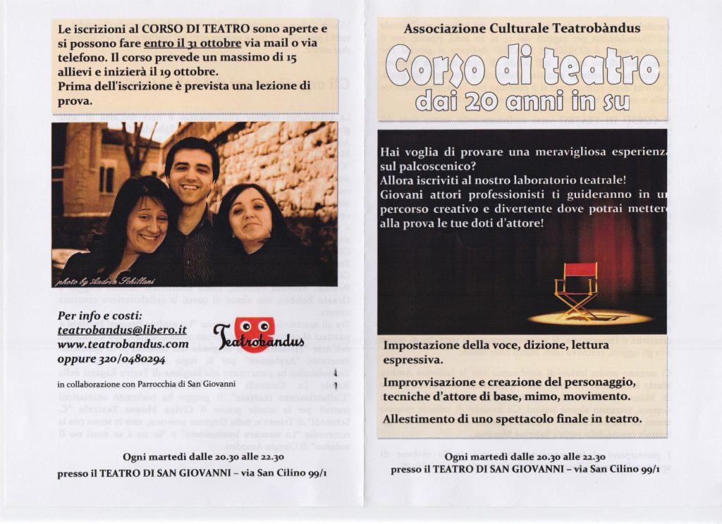 Corso di teatro dai vent'anni in su a Trieste nel 2010