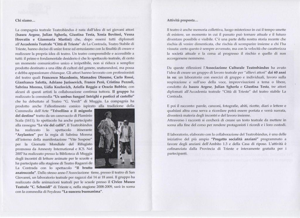 Laboratorio di teatro a Muggia (Trieste) per allievi dai 60 in su - 2010