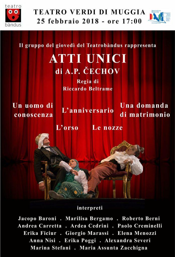 Gli Atti Unici di Cechov del gruppo degli allievi del corso di teatro del giovedì