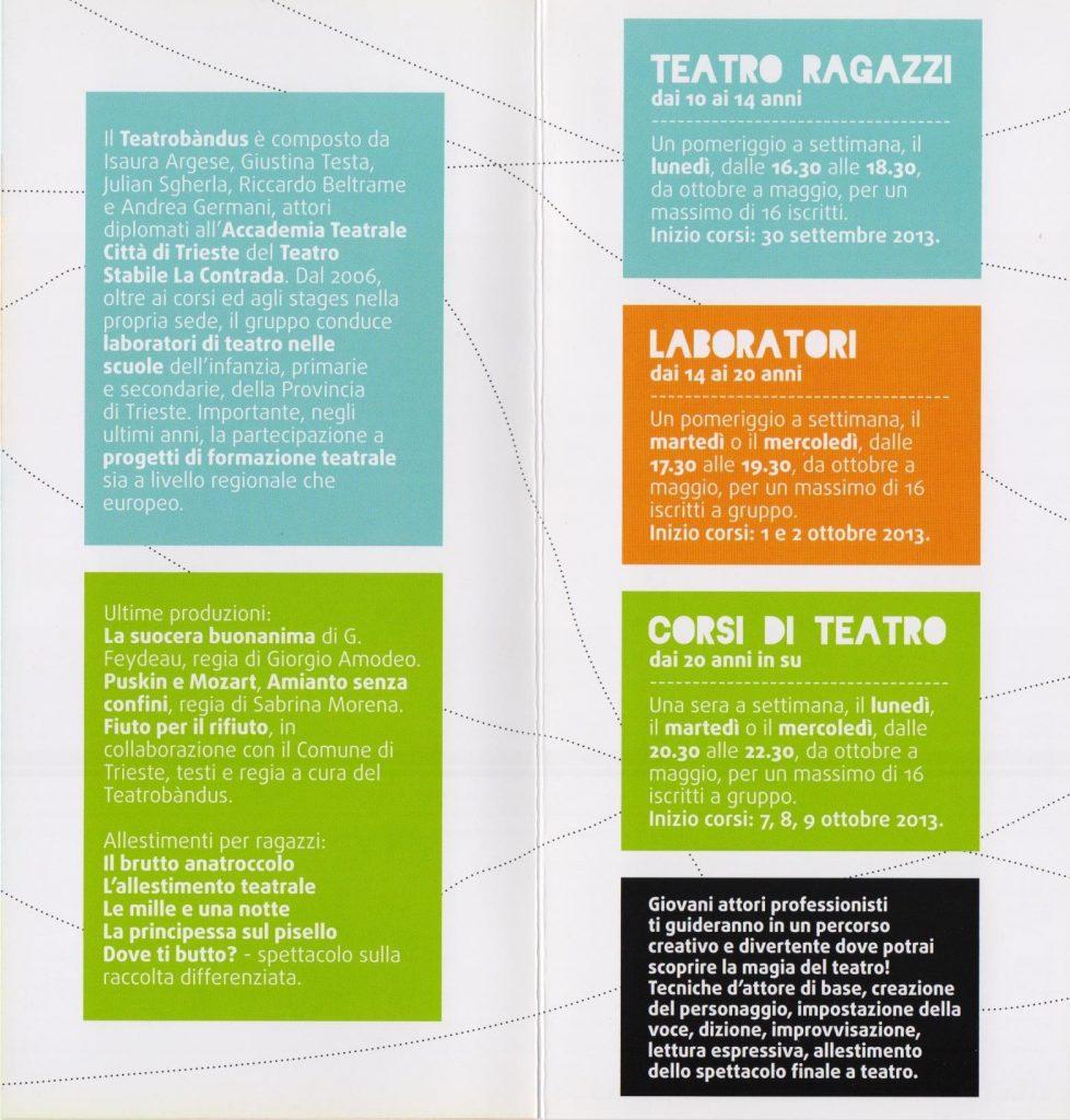 Laboratori teatrali e corsi di teatro a Trieste 2013 - 2014