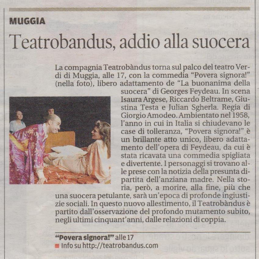 Spettacolo del Teatro Bandus su Il Piccolo di Trieste